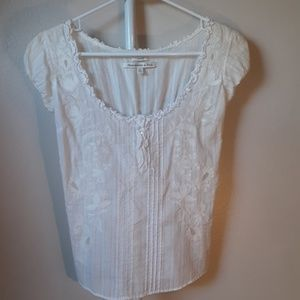 ABERCROMBIE & FITCH WHITE SHEER PEASANT TOP XS